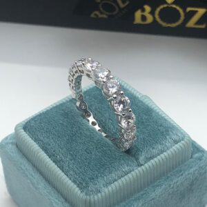 4mm round cut sterling silver eternity band1