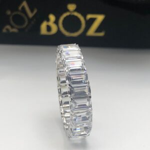 5mm emerald cut sterling silver 925 eternity band.