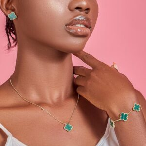 Green Clover Gold Plated Sterling Silver Necklace, Earrings & Five Clover Bracelet Set