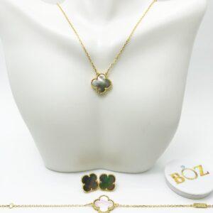 Dual Color Clover Pure Sterling Silver Necklace, Earrings & Bracelet Set